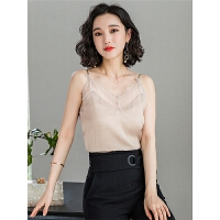韩版新款吊带上衣内搭打底衫无袖纯色花边蕾丝V领背心女夏季外穿
