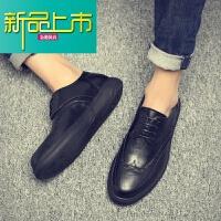 新品上市潮牌18新款大头皮鞋男真皮英伦风男士商务休闲鞋加绒百搭 棕色 8896