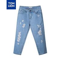 [全场300-30,仅限1.22,新品价119]唐狮2019夏装新款牛仔裤女牛仔裤浅牛仔蓝
