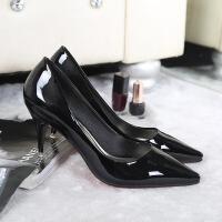 春季新款女鞋浅口鞋性感红色婚鞋尖头高跟漆皮单鞋舒适工作鞋