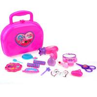 儿童仿真化妆品玩具套装 女孩化妆盒梳妆玩具 口红梳子吹风机盒装