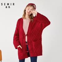 森马开衫女冬季新款正红色时尚毛衣外套宽松慵懒风牛角扣毛衫