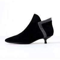 短靴女细跟猫跟短靴尖头2019新款绒面短靴裸靴高跟鞋女鞋