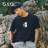 GXG男装 夏黑色韩版打底衫纯棉宽松圆领印花短袖t恤男#182844410