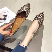 2019新款时尚女鞋平底单鞋复古铆钉浅口休闲女平跟瓢鞋休闲女鞋