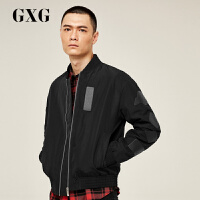 【GXG过年不打烊】GXG男装 秋季时尚经典PU装饰黑色棉夹克男#174121001