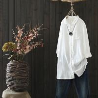 女装文艺宽松中长款纯棉白衬衫女秋冬新款休闲长袖衬衣裙 白色