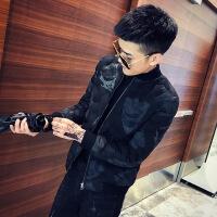 棉衣男士冬季外套新款韩版潮流修身帅气秋季夹克棉袄 黑色