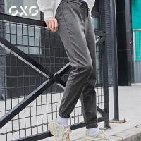 【新款】GXG男装 2020春季灰色韩版休闲长裤束脚休闲裤GA102412G