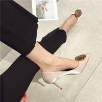 高跟鞋女鞋2019时尚新款尖头浅口豹纹圆扣女鞋绸缎面气质高跟鞋