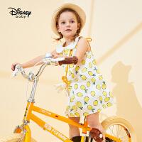 【品牌日3件4折预估价:56.1元】迪士尼婴幼儿童装20夏新款梦幻童年女童梭织翻领背心连衣裙