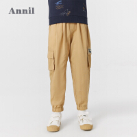 【2件4折价:119.6】安奈儿童装男童工装裤2021新款夏季薄款中大童长裤多口袋束脚裤子