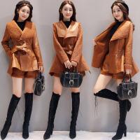 新年特惠2019冬季新款皮毛一体时髦套装女韩版皮外套短裤时尚两件套潮 X