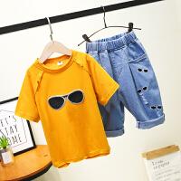 儿童休闲套装男童夏装夏季男孩短袖T恤牛仔裤两件套