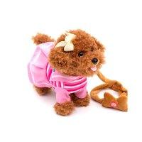 儿童电动玩具狗狗牵绳小狗毛绒仿真泰迪女宝宝男孩子智能机器遥控 海军泰迪 棕毛粉色