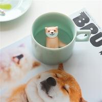 陶社咖啡杯套装家用陶瓷马克杯可爱柴犬狗年个性创意情侣杯子