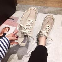 2019新款个性纯色时尚真皮女鞋超软牛皮低帮休闲鞋女系带厚底女鞋