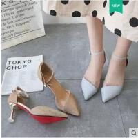 尖头高跟鞋细跟时尚凉鞋女凉鞋网红爆款性感一字扣带百搭中空单鞋
