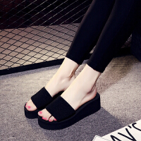 夏季新款时尚韩版中跟一字拖女士居家厚底凉拖鞋沙滩拖鞋 黑色 7厘米高跟