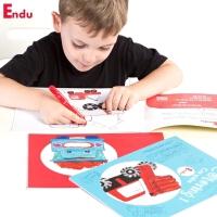 Endu儿童画画本 绘画涂色书本3-6岁幼儿园宝宝填色涂鸦3本套装