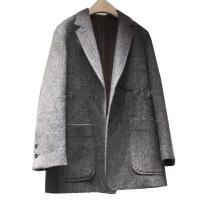 新颖潮牌 小西装外套女2019冬季韩国新款网红加厚复古人字纹羊毛呢西服外套