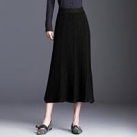 针织半身裙秋冬女2018新款中长款毛线裙子裹裙高腰包臀裙冬季长裙 均码 1尺8到2尺4