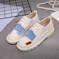 百搭ins低帮女鞋原宿风韩版运动鞋ulzzang休闲鞋学生冬季平底板鞋 米色 H1812K