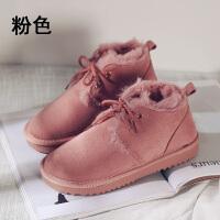 雪地靴女2018冬季新款短筒平底棉鞋加绒短靴学生面包鞋潮 粉色 H4-C6609粉色