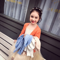 女童针织开衫外套儿童纯色百搭女孩上衣
