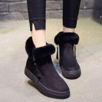 雪地靴女2018新品韩版加绒女靴冬季保暖棉鞋时尚百搭毛靴子