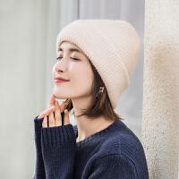 帽子女冬季兔毛针织帽保暖加厚韩版潮百搭日系可爱纯色冬天毛线帽