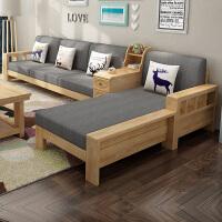 北欧布艺沙发组合日式客厅沙发转角 现代中式带储物转角贵妃布艺沙发小户型客厅家具整装 +茶几+方几 组合