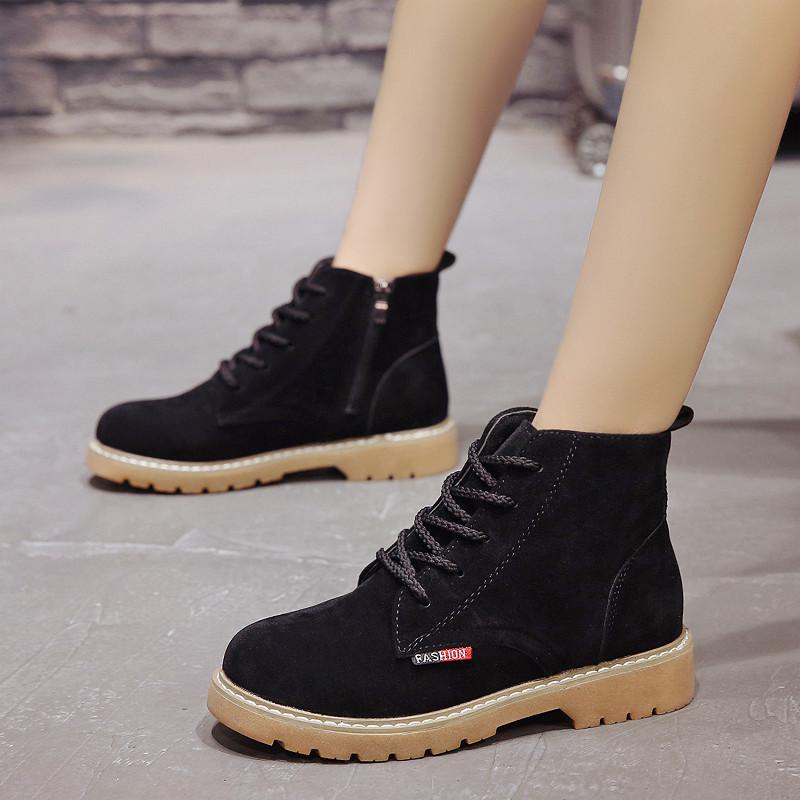 短靴女单靴踝靴磨砂绒面短筒系带马丁靴2018新款韩版秋冬女鞋粗跟
