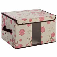 无纺布收纳盒百纳箱 透视窗收纳箱 内衣整理箱储物箱 大号40*30*25cm