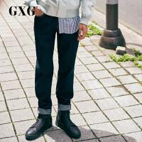 GXG男装 秋季男士时尚流行深蓝色韩版弹力休闲牛仔长裤