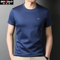 桑蚕丝薄款纯色圆领T恤短袖男士 夏季莫代尔简约不起球潮流青中年修身打底衫 BB2512