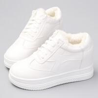 冬季新款内增高小白鞋女加绒保暖系带休闲鞋增高8cm白色