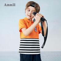 【2件4折价:79.6】安奈儿童装男童POLO衫短袖纯棉透气2021新款洋气薄款11岁男孩T恤