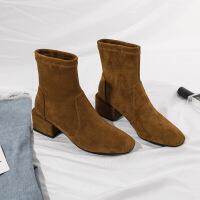 靴子女2019春季新款欧美切西尔靴 圆头弹力纯色粗跟短靴