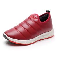 冬季老北京布鞋女鞋加绒滑保暖棉鞋女老年人棉靴皮面水妈妈 红色 (偏小一码)