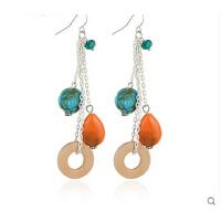时尚甜美饰品 波希米亚仿玉石花朵天然木圈耳环 可换无耳洞耳夹