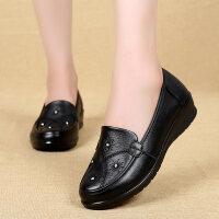 妈妈鞋秋季平底百搭单鞋女奶奶中老年皮鞋中年女鞋真皮软底老人鞋