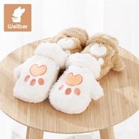 女童可爱户外手套宝宝挂脖1-3岁儿童手套冬男童厚保暖手套