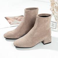 短靴女2019秋冬季新款女鞋靴子女中跟方跟女靴子女粗跟女短靴