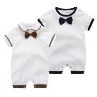 婴儿连体衣2019夏季绅士领结哈衣短袖新生儿衣服满月宝宝