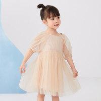 【1件秒杀价:228】马拉丁童装女小童连衣裙2020夏装新款压褶设计短袖网纱裙子