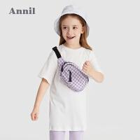 【2件4折价:87.6】安奈儿童装女童T恤半袖2021新款洋气中国风绣花女孩上衣纯棉短袖