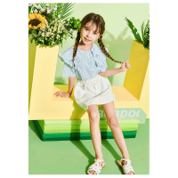 【抢购价:49.1元】巴布豆童装新款女童夏季格子短袖