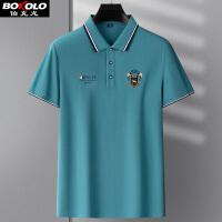 满198减50 纯色长袖T恤男士青中年拼色简约休闲POLO衫男装商务保罗衫伯克龙A8909