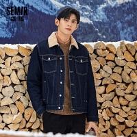 森马冬季夹克时尚男装韩版潮流仿羊绒2020新款宽松牛仔厚学生外套